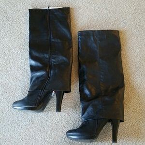 Nicole by Nicole Miller Black Leather Boots